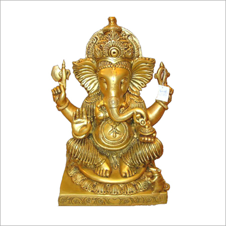 Brass Ganesha Sitting Idol