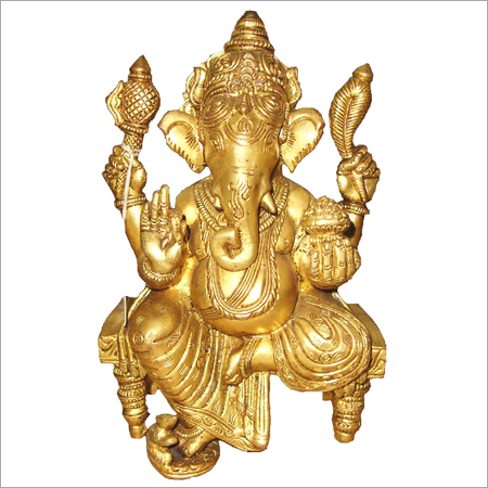 Intricate Brass Ganesh Statue