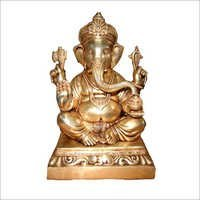 Copper Ganesh sitting on base