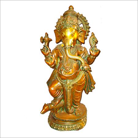 Brass Ganesh Standing Murti