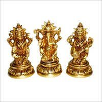Laxmi Saraswati Ganesh Brass Statues