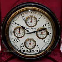 World Time Wall hanging Wooden Clock in 16 Inches 5 Times.