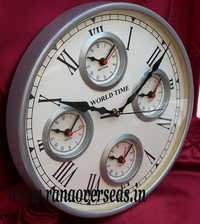World Time Wall hanging Iron Metal Clock in 12 Inches 5 Times.