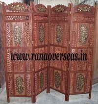 Wooden Carved Room Divider Partition Screen in Brass Inlay.