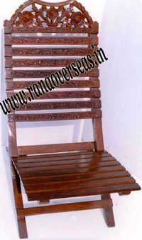 Wooden Hand Carved Folding Relaxing Chair.