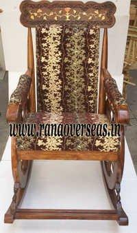 Wooden Rocking Chair in Brass Inlay