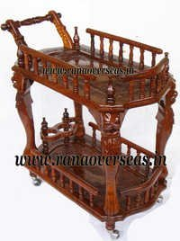 Wooden Hand Carved Serving Trolley