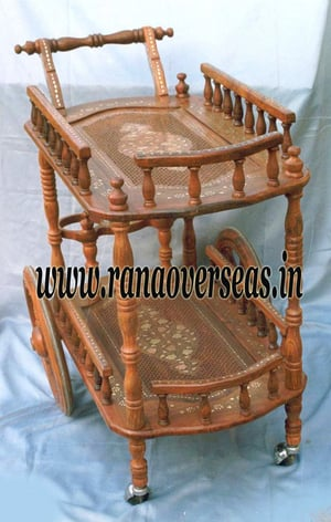 Wooden Hand Carved Trolley Food Serving