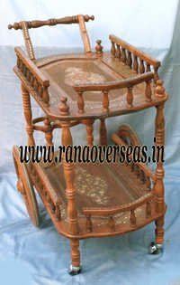 Wooden Hand Carved Trolley for Food Serving