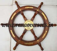 Wooden Ship Wheel in Brass Fitting