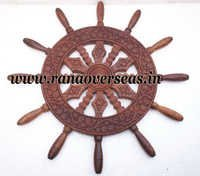 Wooden Carved Ship Wheel.