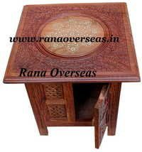 Wooden Hand Carved Brass Inlay Table in sheesham Wood.