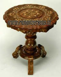 Wooden Carved Brass Inlay Side Table