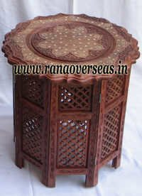 Wooden Carved Brass Side Table