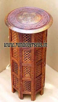 Wooden Carved Side Table in High Top