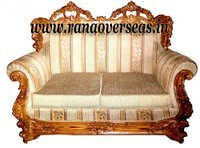 Wooden Two Seater Sofa Set