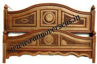 Wooden Hand Carved Brass Inlay Double Bed