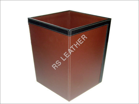 Leatherette Waste bin With white Stitch