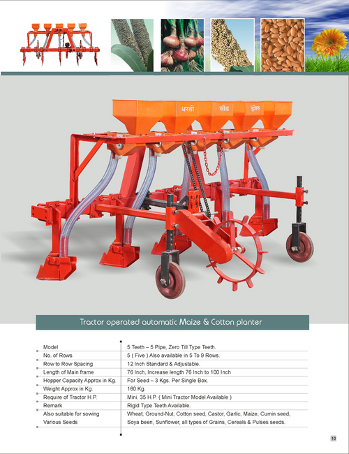Tractor Operated Maize & Cotton Planter
