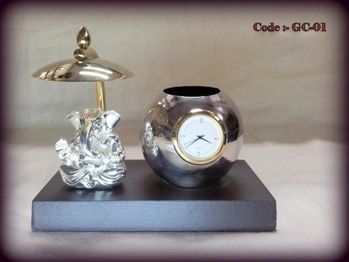Table Top Ganesha with pen stand and watch