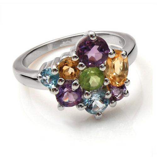 semi precious stone with silver ring wholesale