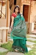 Chanderi Zari Border Discharge Print Border Saree