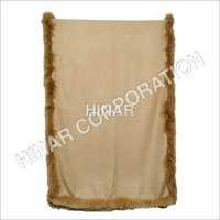 Pashmina with fox fur trim on 4 sides