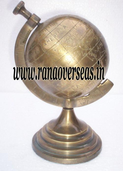 Aluminium Metal Globe in Brass Antique Finish