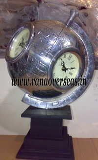 Aluminium Metal Globe Clock.