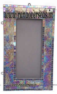 Mirror Frame in Wood, Glass Mosaic beads pasted on it.