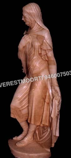 Red Marble Lady Sculpture