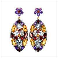 Gold Multi Color Gemstone Dangle Earrings