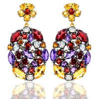 Gold Multi Gemstone Dangle Earrings