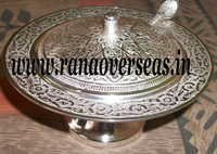 Silver Plated Kesar Bowl With Spoon.