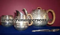 Silver Plated Tea Set with Sugar Pot, Milk Pot and Spoon