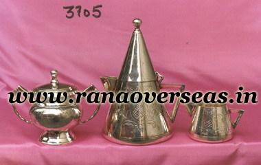 Silver Plated Tea Set with Sugar Pot, Milk Pot