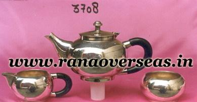 Brass metal Silver Plated Tea Set with Sugar Pot, Milk Pot