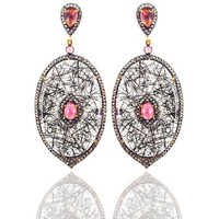 Diamond Silver Gemstone Earrings