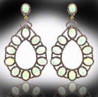 Opal Gemstone Diamond Earrings
