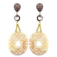 Carving Pave Diamond Dangle Earrings Jewelry