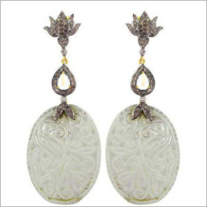 Gold Diamond Tourmaline Carving Earrings Jewelry