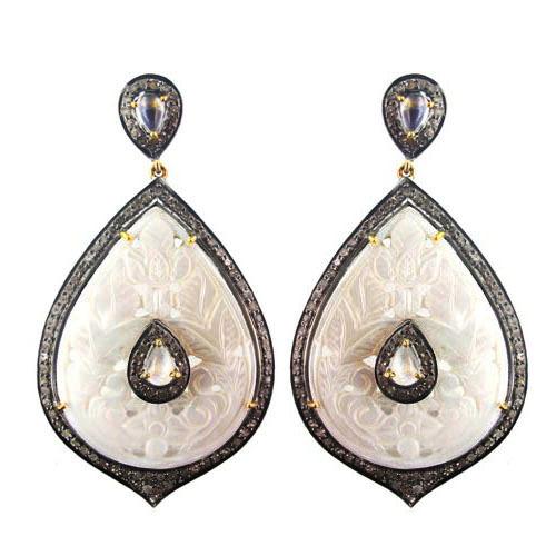 Gold Black Onyx Carving Dangle Earring