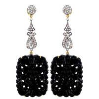 Black Onyx Carving Earring Jewelry