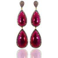 Precious Ruby Gemstone Gold Dangle Earrings