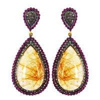 Diamond Rutile Quartz & Ruby Earrings