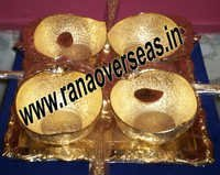 Gold Plated 24K Bowl Set With Spoon and Tray.
