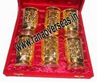 Gold Plated 24K Glass Set of 6 Pcs developed in Brass Metal.