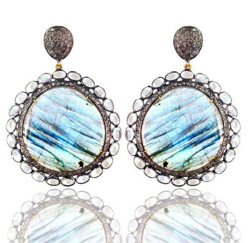 Diamond Gold Labradorite Gemstone Earrings