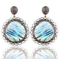 Diamond Gold Labradorite Gemstone Earrings