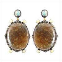 14k Gold Multi Sapphire Gemstone Earrings
